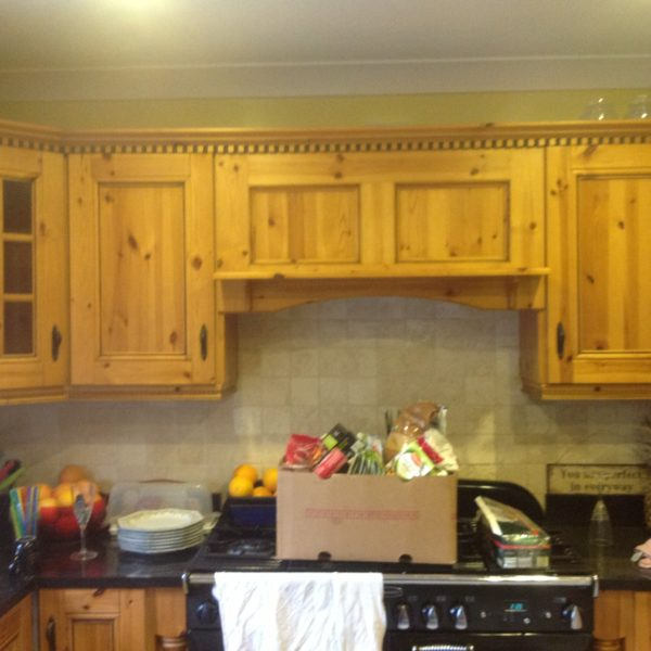 Solid Pine Kitchen Before Respray